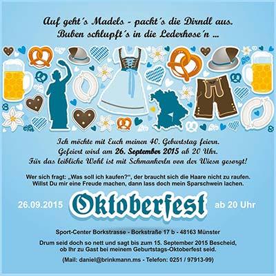 40 Geburtstag Daniel Oktoberfest Party Brinkmann Online Munster
